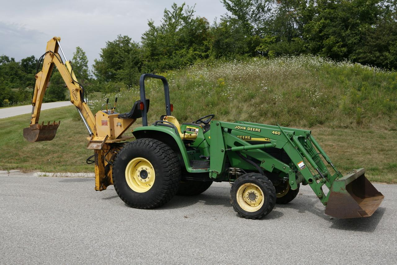 SOLD: 2001 John Deere 4600 w loader, backhoe, forks, and Reist Landscaper!